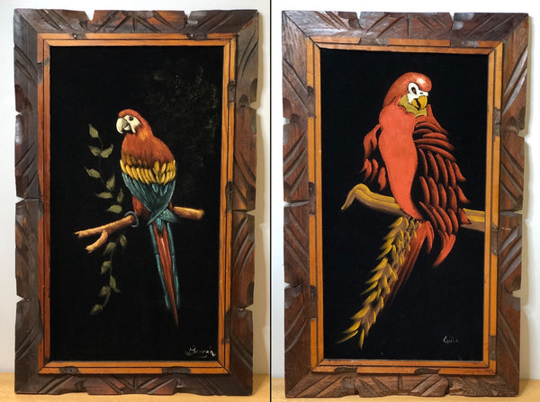 Pair of Vintage Parrot Paintings on Black Velvet, Hand Carved Frames