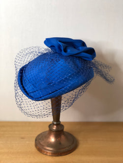 Striking Royal Blue 1950s Pillbox Hat