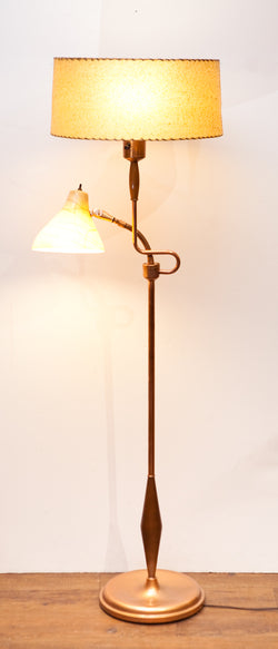 Mid Century 1950s Copper Floor Lamp w/ Reading Light