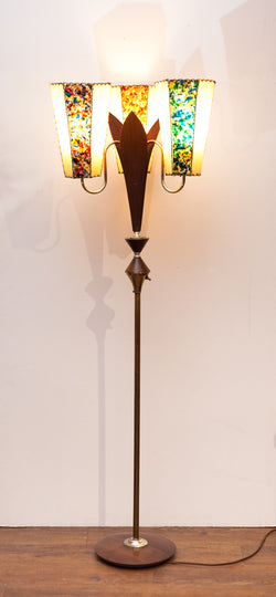 Funky Fabulous Tri-Light Atomic 1950s Floor Lamp w/ Lucite Panels