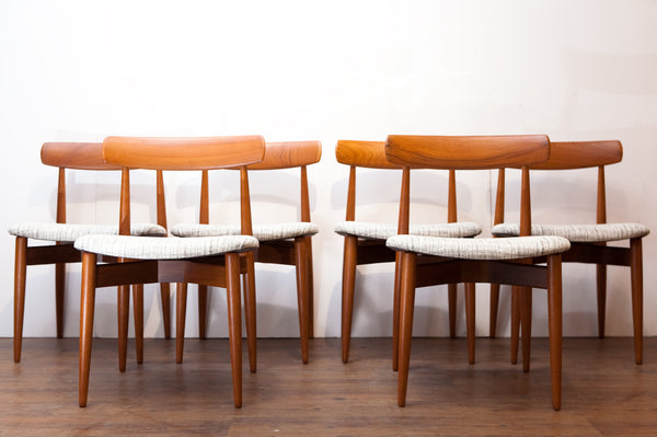 Refinished Teak Dining Chairs by Bramin, Exceptional Quality, New Upholstery