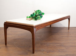 Sleek 1960s Walnut & Stone Coffee Table, Perfect for Small Spaces
