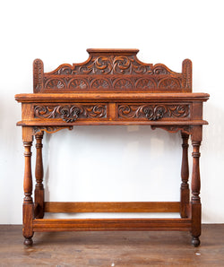 SALE! Incredibly Beautiful Antique Carved Tiger Oak Console Table