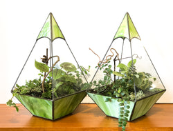 Gorgeous Pair of Vintage Leaded Glass Terrariums w/ Plants