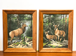 Pair of Vintage Paint by Numbers, with Stag & Doe Deer