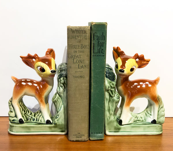 The Cutest Vintage Deer Bookends Ever!