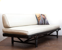 SALE! Fabulous Lacquered Bamboo 1960s Daybed/Sofa, Comfy!