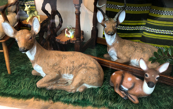 Rare Set of 1950s Concrete Lawn Deer, Extra Large Size!