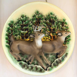 Adorable & Rare 1950s Vintage 3D Deer Wall Lamp, Chalkware