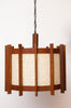 Fantastic Large Solid Teak, Fiberglass, and Yarn Pendant/Swag Lamp