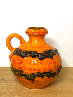 Gorgeous Orange 1960s West German Ceramic Vase