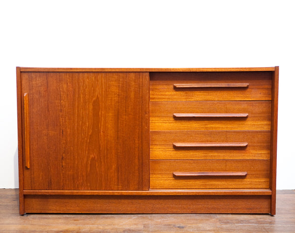 Quality Built Mid Century Mini Teak Credenza, Perfect for Small Spaces!