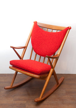 NEW ARRIVAL - Beautiful 1960s Teak Rocking Chair by Bramin of Denmark, New Upholstery