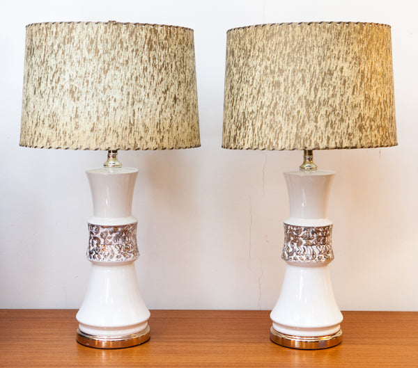 NEW ARRIVAL - Gorgeous Matching Pair of 1950s Ceramic Lamps w/ Fibreglass Shades