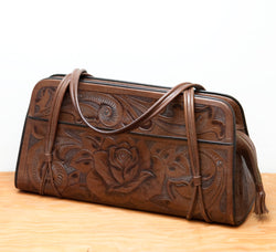 Beautiful Vintage Tooled Leather Purse by Gaitan Mexico