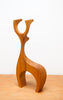 Charming Modernist Hand Carved Deer, Large