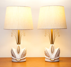 Fab Pair of Atomic 1950s Ceramic Lamps by Miller USA