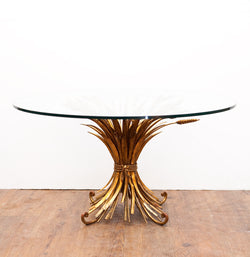 Gorgeous Gilded Iron Sheaf of Wheat Coffee/Side Table