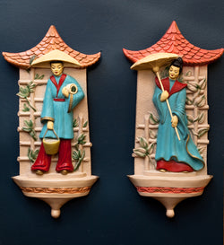Beautiful Asian-Inspired Chalkware Plaques, Large & Detailed