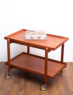 Mid Century Danish Teak Bar Cart, Converts to Serving Table!