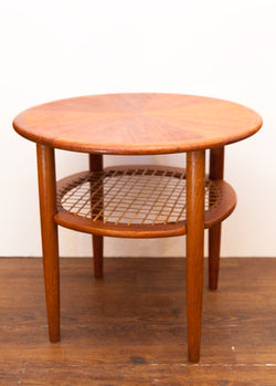 Sweet Mid Century Teak Side Table, Cane Shelf, Exc Cond