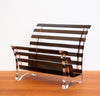 Unique Lucite Black and Clear Magazine Rack
