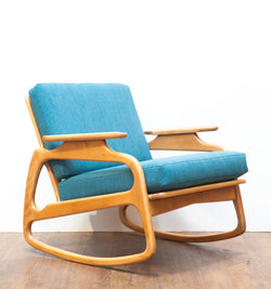 Sculptural & Unique Mid Century Rocking Chair, Restored, Reupholstered