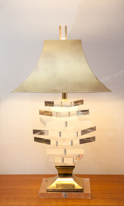 Epic 1980s Stacked Lucite Lamp w/ Brass Shade and Base