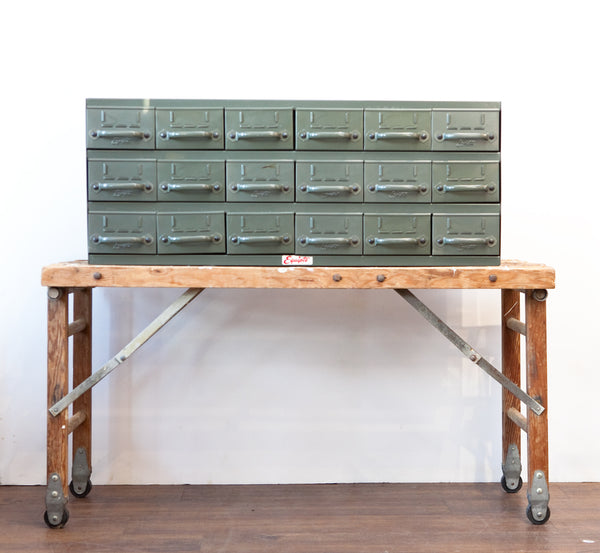 Vintage Industrial Metal Card Catalog on Antique Wash Stand