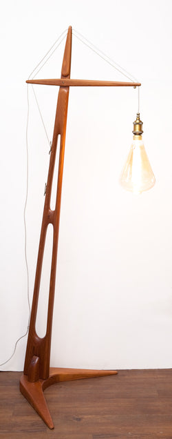 One of a Kind Vintage Carved Cedar Floor Lamp, Industrial Style