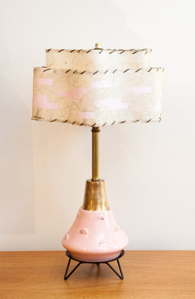 Fab Atomic 1950s Pink & Gold Lamp, Restored, New Wiring