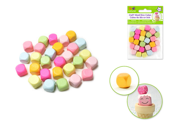 Craft Wood Dice Cubes Pastels