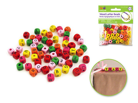 10mm Letter Beads 60/pk Multicolor