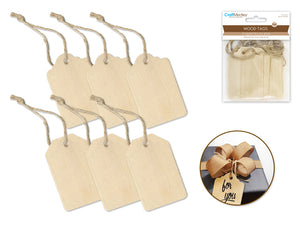 Wooden Tags w/Jute Cord  6pc 5cmx8cm