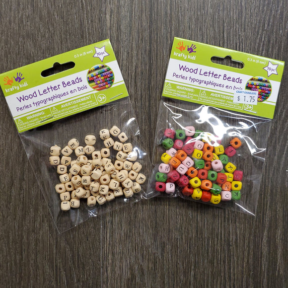 Wood Letter Beads 8MM 70Pc coloured or Natural