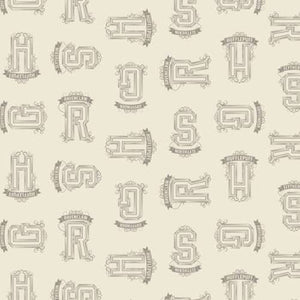 HP 100% Cotton Fabric - Cream Tonal Houses