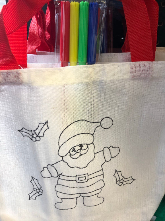 Canvas Goody Bag w Markers, Christmas