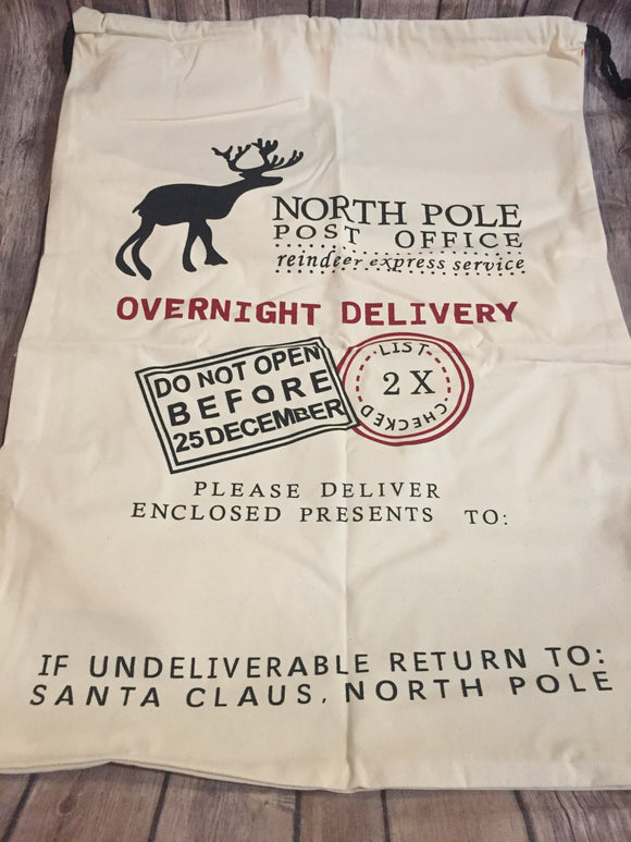 Natural Santa Sack with Reindeer