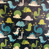 Cute Dinosaurs Blue/Green Faux Leather