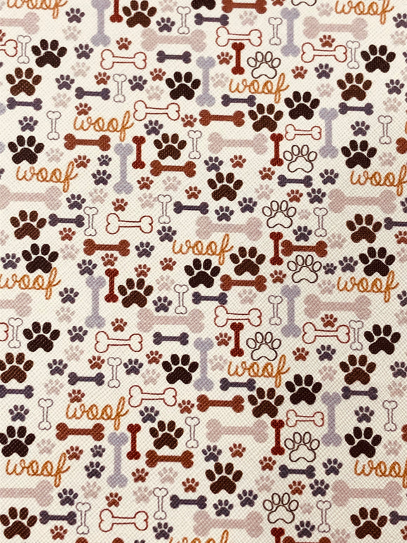 Paw prints and bones Faux Leather