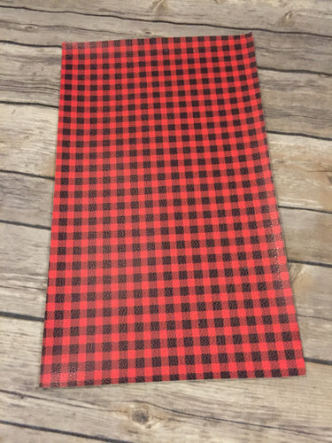 Faux Leather  Litchi Red Buffalo Plaid
