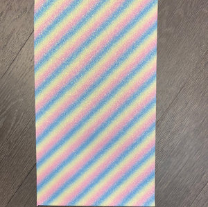 Faux Leather  - Fine Glitter diagonal striped pastels