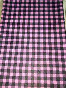 Faux Leather  Pink and Black Plaid