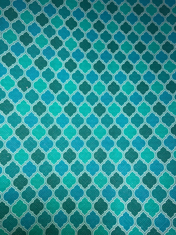 Faux Leather  Teal Morocco Design