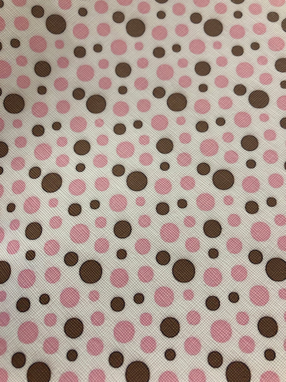 Pink and Brown polka dots Faux Leather