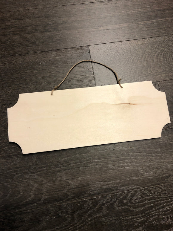 17In  Rectangle Cut Corners Wood Sign