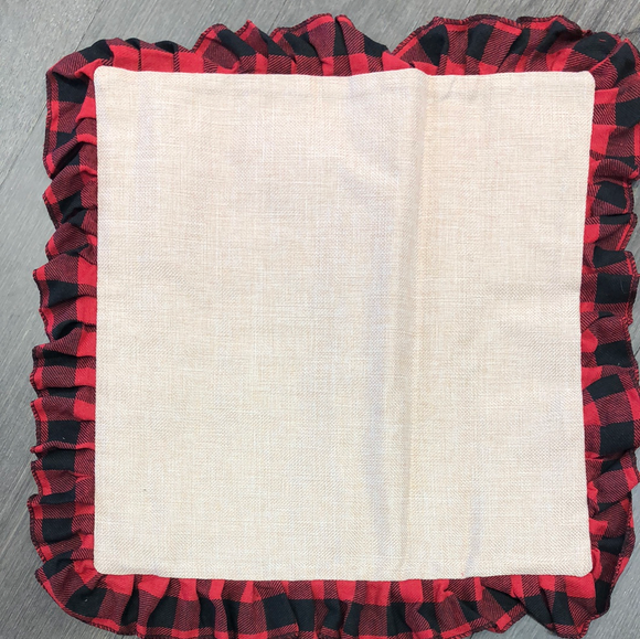 Buffalo plaid ruffle pillow cover