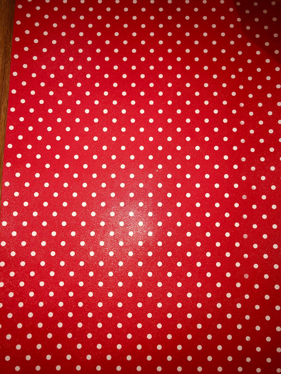 Watermelon Red polka dot faux leather