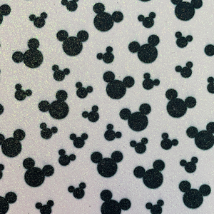 Black and White Mouse Silhouette Glitter  Faux Leather