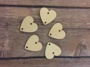 Wood Disks - 25mm - Hearts